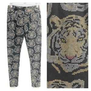 LuLaRoe black Tiger Head Printed Leggings